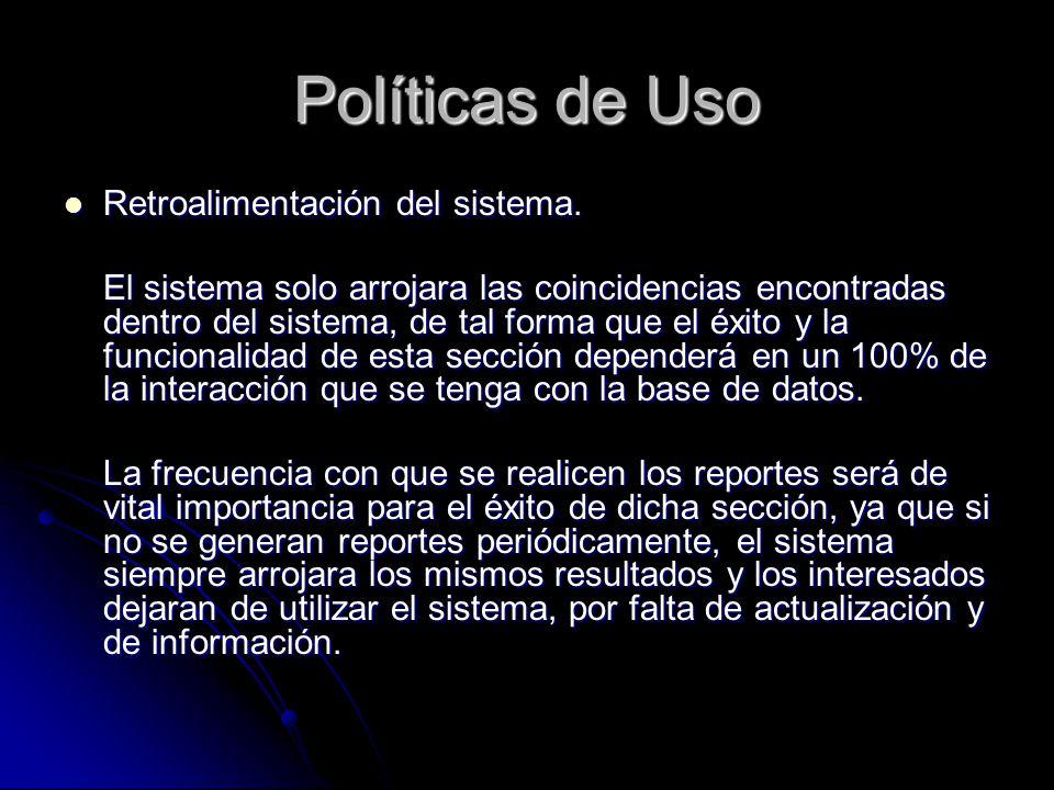 Políticas de Uso Retroalimentación del sistema. Retroalimentación del sistema. El sistema solo arrojara las coincidencias encontradas dentro del siste
