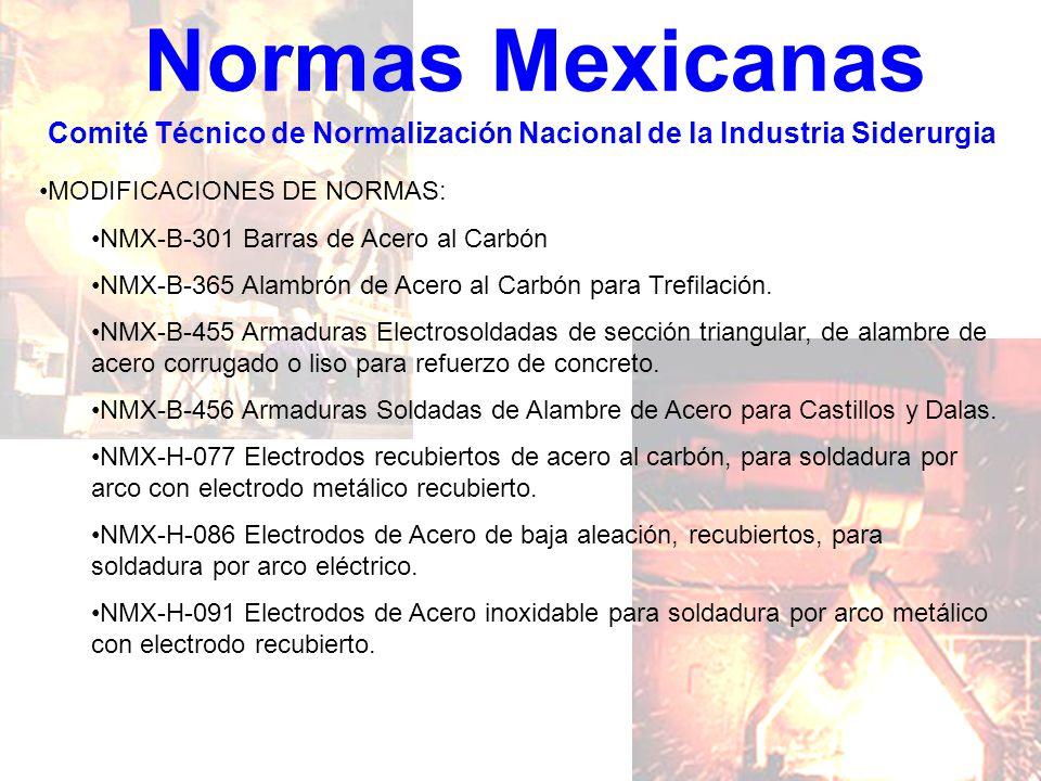 Normas Mexicanas Comité Técnico de Normalización Nacional de la Industria Siderurgia MODIFICACIONES DE NORMAS: NMX-B-301 Barras de Acero al Carbón NMX