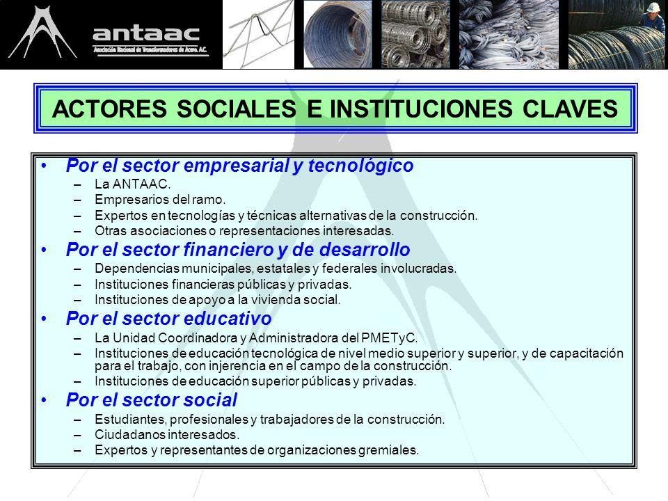 ACTORES SOCIALES E INSTITUCIONES CLAVES Por el sector empresarial y tecnológico –La ANTAAC.