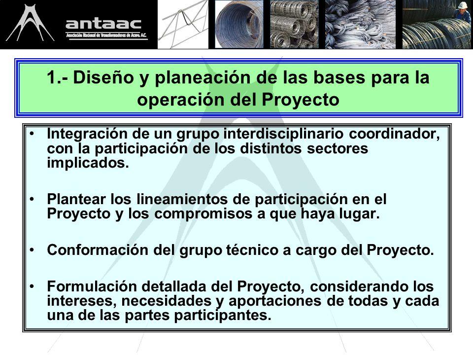 1.- Diseño y planeación de las bases para la operación del Proyecto Integración de un grupo interdisciplinario coordinador, con la participación de los distintos sectores implicados.