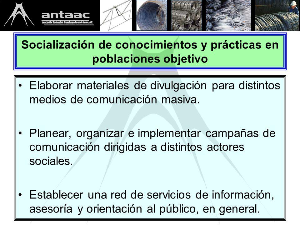 Socialización de conocimientos y prácticas en poblaciones objetivo Elaborar materiales de divulgación para distintos medios de comunicación masiva.