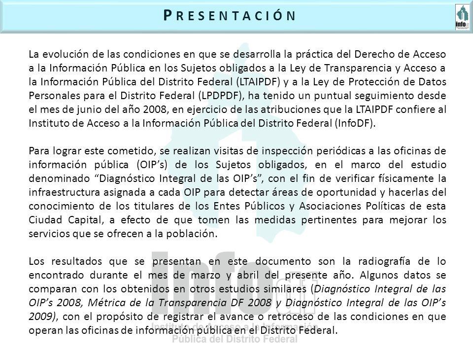 La evolución de las condiciones en que se desarrolla la práctica del Derecho de Acceso a la Información Pública en los Sujetos obligados a la Ley de Transparencia y Acceso a la Información Pública del Distrito Federal (LTAIPDF) y a la Ley de Protección de Datos Personales para el Distrito Federal (LPDPDF), ha tenido un puntual seguimiento desde el mes de junio del año 2008, en ejercicio de las atribuciones que la LTAIPDF confiere al Instituto de Acceso a la Información Pública del Distrito Federal (InfoDF).