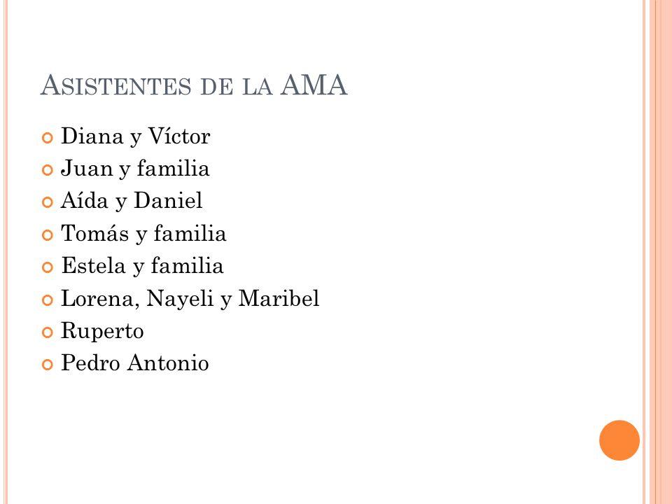 A SISTENTES DE LA AMA Diana y Víctor Juan y familia Aída y Daniel Tomás y familia Estela y familia Lorena, Nayeli y Maribel Ruperto Pedro Antonio