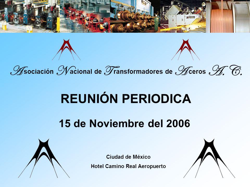 A s ociación N a cional de T r ansformadores d e A c eros A. C. 15 de Noviembre del 2006 Ciudad de México Hotel Camino Real Aeropuerto REUNIÓN PERIODI