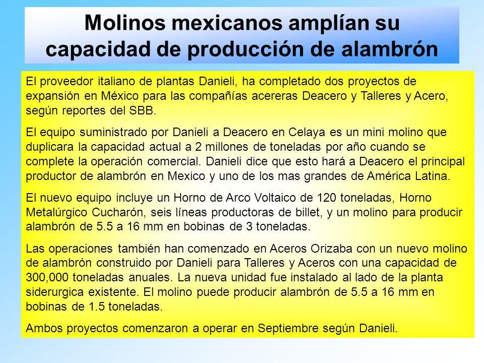 Molinos mexicanos amplían su capacidad de producción de alambrón El proveedor italiano de plantas Danieli, ha completado dos proyectos de expansión en