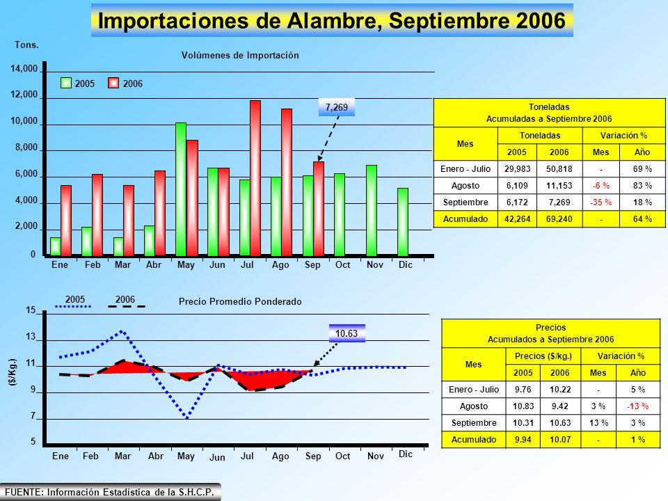 EneFebMarAbrMayJunJulAgoSepOctNovDic 0 4,000 2,000 6,000 8,000 10,000 12,000 14,000 Importaciones de Alambre, Septiembre 2006 20052006 Tons. Volúmenes