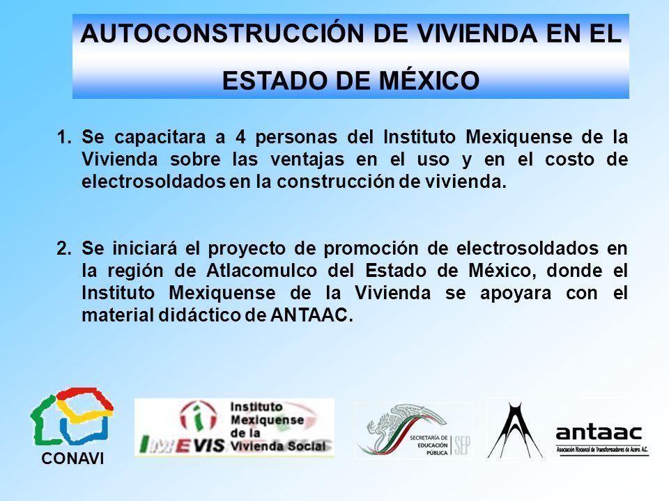 1.Se capacitara a 4 personas del Instituto Mexiquense de la Vivienda sobre las ventajas en el uso y en el costo de electrosoldados en la construcción