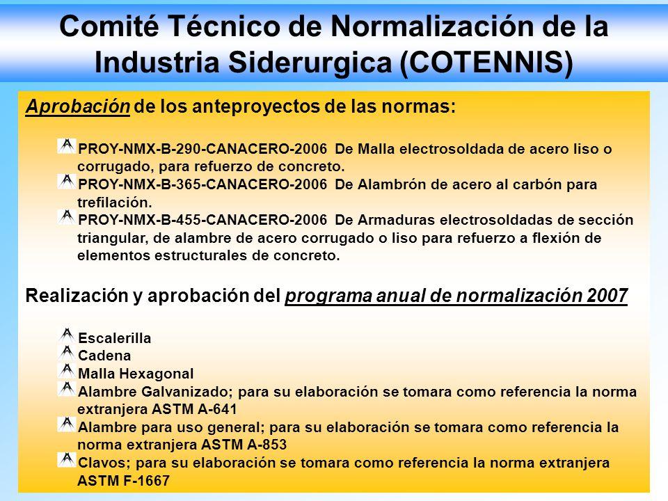 Comité Técnico de Normalización de la Industria Siderurgica (COTENNIS) Aprobación de los anteproyectos de las normas: PROY-NMX-B-290-CANACERO-2006 De