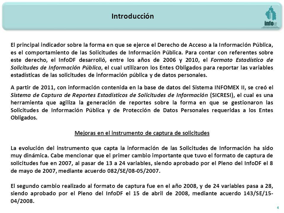 Introducción 4 El principal indicador sobre la forma en que se ejerce el Derecho de Acceso a la Información Pública, es el comportamiento de las Solicitudes de Información Pública.