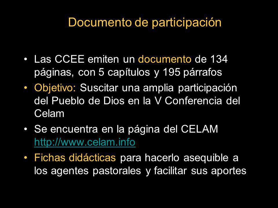 Documento de participación Las CCEE emiten un documento de 134 páginas, con 5 capítulos y 195 párrafos Objetivo: Suscitar una amplia participación del