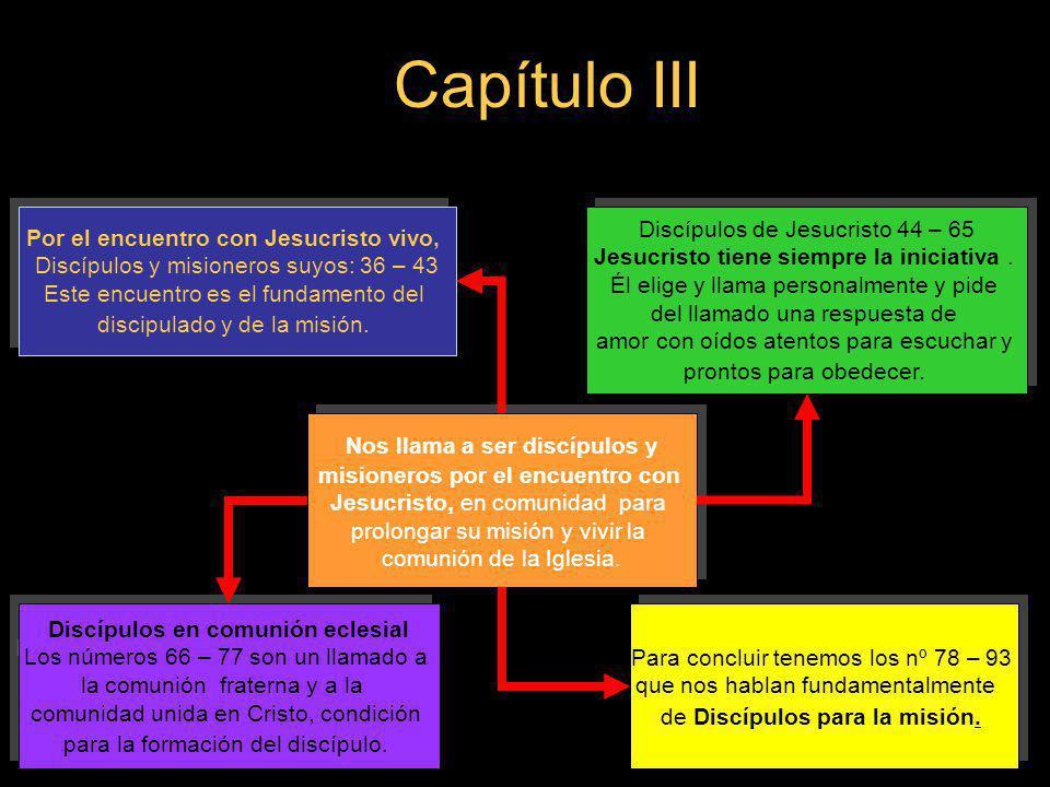 Capítulo III Nos llama a ser discípulos y misioneros por el encuentro con Jesucristo, en comunidad para prolongar su misión y vivir la comunión de la
