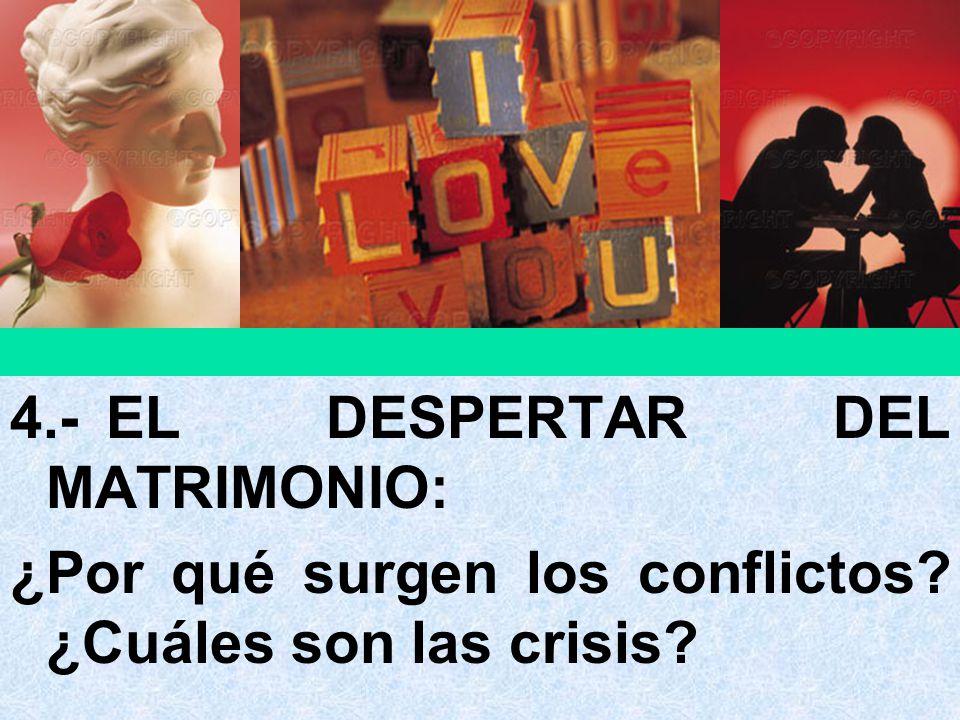 4.-EL DESPERTAR DEL MATRIMONIO: ¿Por qué surgen los conflictos? ¿Cuáles son las crisis?