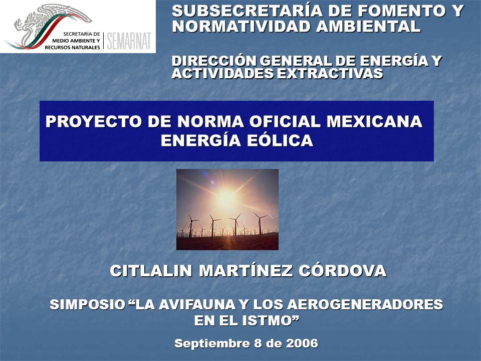 PROYECTO DE NORMA OFICIAL MEXICANA ENERGÍA EÓLICA CITLALIN MARTÍNEZ CÓRDOVA SIMPOSIO LA AVIFAUNA Y LOS AEROGENERADORES EN EL ISTMO Septiembre 8 de 2006 SUBSECRETARÍA DE FOMENTO Y NORMATIVIDAD AMBIENTAL DIRECCIÓN GENERAL DE ENERGÍA Y ACTIVIDADES EXTRACTIVAS