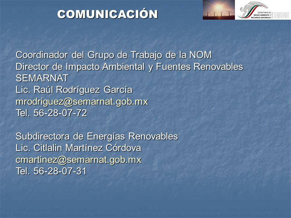 Coordinador del Grupo de Trabajo de la NOM Director de Impacto Ambiental y Fuentes Renovables SEMARNAT Lic.