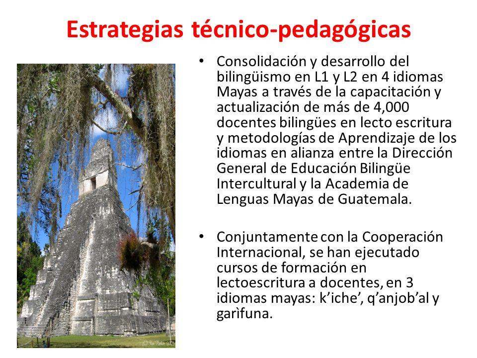 Estrategias técnico-pedagógicas Consolidación y desarrollo del bilingüismo en L1 y L2 en 4 idiomas Mayas a través de la capacitación y actualización de más de 4,000 docentes bilingües en lecto escritura y metodologías de Aprendizaje de los idiomas en alianza entre la Dirección General de Educación Bilingüe Intercultural y la Academia de Lenguas Mayas de Guatemala.