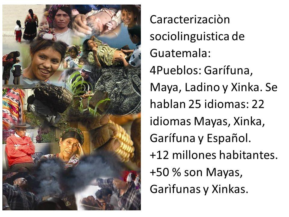Caracterizaciòn sociolinguistica de Guatemala: 4Pueblos: Garífuna, Maya, Ladino y Xinka.