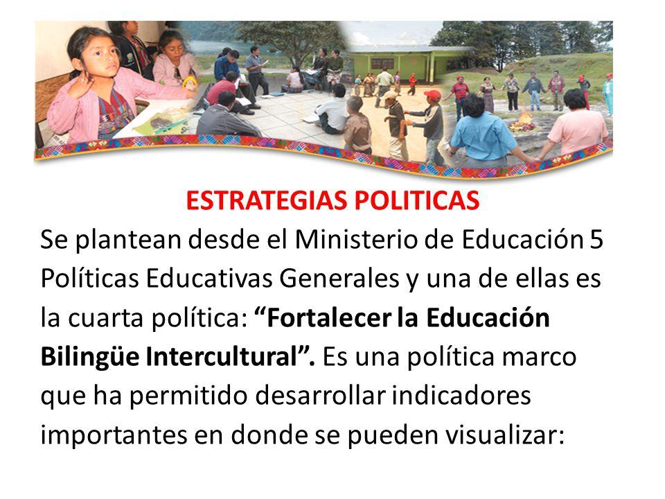 ESTRATEGIAS POLITICAS Se plantean desde el Ministerio de Educación 5 Políticas Educativas Generales y una de ellas es la cuarta política: Fortalecer la Educación Bilingüe Intercultural.