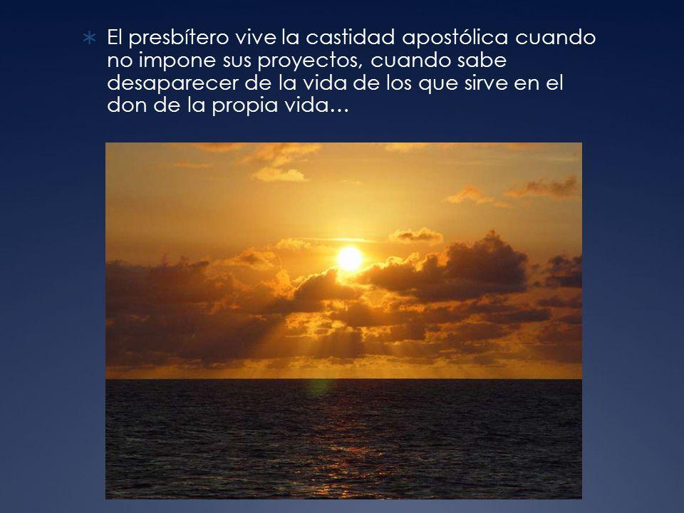El presbítero vive la castidad apostólica cuando no impone sus proyectos, cuando sabe desaparecer de la vida de los que sirve en el don de la propia vida…