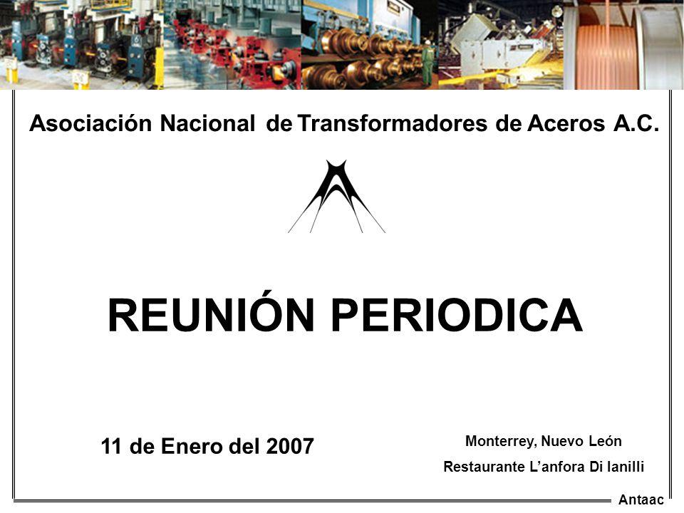 Antaac Asociación Nacional de Transformadores de Aceros A.C. 11 de Enero del 2007 Monterrey, Nuevo León Restaurante Lanfora Di Ianilli REUNIÓN PERIODI