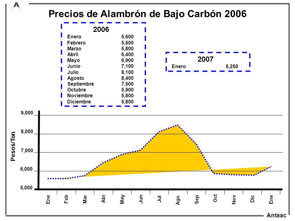 Antaac Mar Ago Abr May Jun Jul Sep Oct 5,000 7,000 6,000 8,000 9,000 Pesos/Ton Ene Feb Nov Dic Precios de Alambrón de Bajo Carbón 2006 2006 Enero5,600