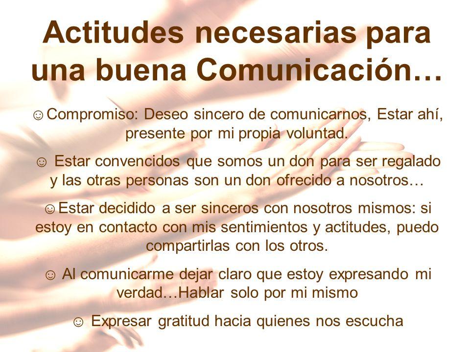 Actitudes necesarias para una buena Comunicación… Compromiso: Deseo sincero de comunicarnos, Estar ahí, presente por mi propia voluntad. Estar convenc