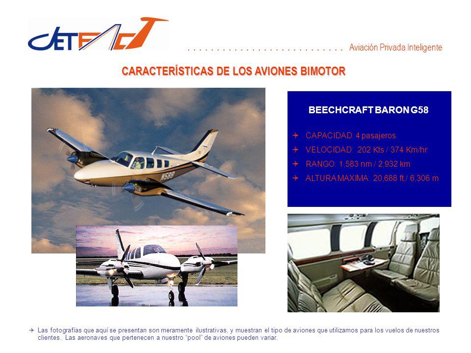 CARACTERÍSTICAS DE LOS AVIONES BIMOTOR BEECHCRAFT BARON G58 CAPACIDAD: 4 pasajeros.