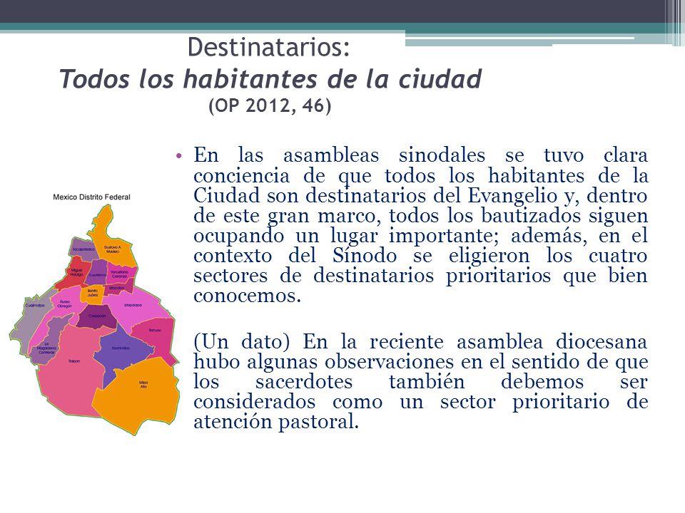 Destinatarios: Todos los habitantes de la ciudad (OP 2012, 46) En las asambleas sinodales se tuvo clara conciencia de que todos los habitantes de la C