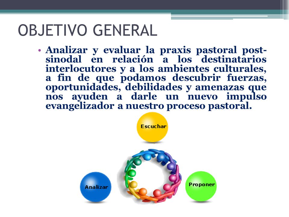 OBJETIVO GENERAL Analizar y evaluar la praxis pastoral post- sinodal en relación a los destinatarios interlocutores y a los ambientes culturales, a fi