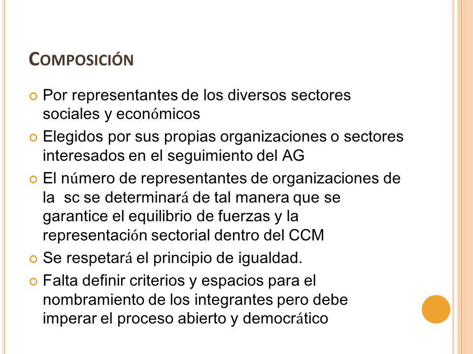 C OMPOSICIÓN Por representantes de los diversos sectores sociales y econ ó micos Elegidos por sus propias organizaciones o sectores interesados en el