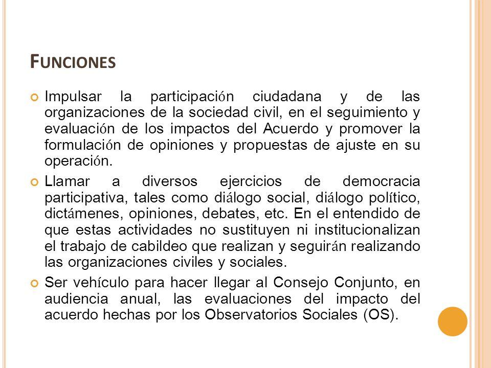 F UNCIONES Impulsar la participaci ó n ciudadana y de las organizaciones de la sociedad civil, en el seguimiento y evaluaci ó n de los impactos del Ac