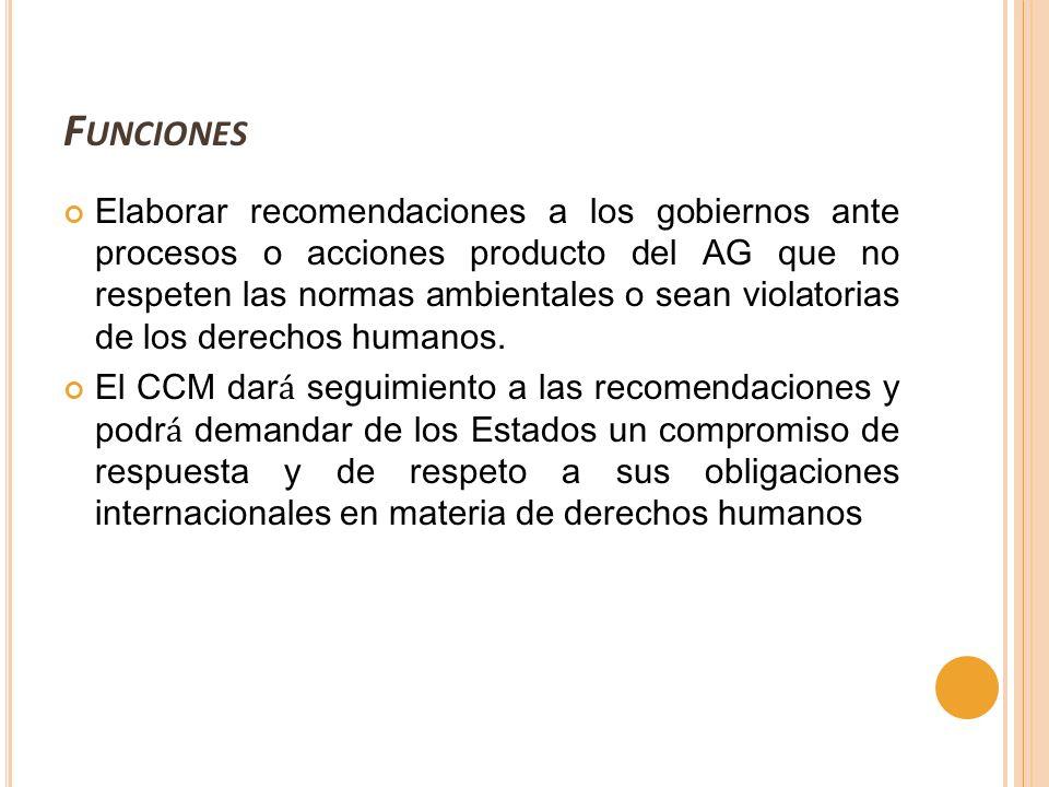 F UNCIONES Elaborar recomendaciones a los gobiernos ante procesos o acciones producto del AG que no respeten las normas ambientales o sean violatorias