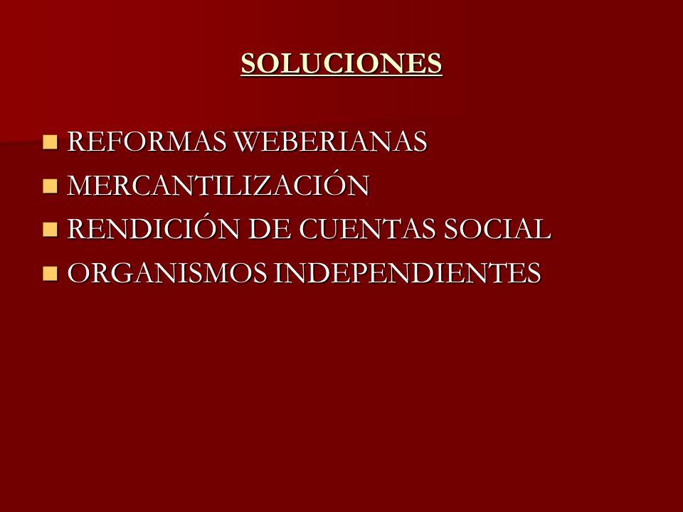 SOLUCIONES REFORMAS WEBERIANAS REFORMAS WEBERIANAS MERCANTILIZACIÓN MERCANTILIZACIÓN RENDICIÓN DE CUENTAS SOCIAL RENDICIÓN DE CUENTAS SOCIAL ORGANISMO