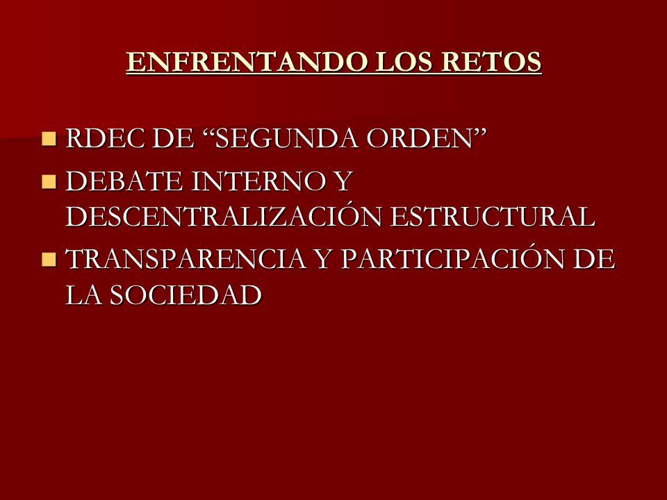 ENFRENTANDO LOS RETOS RDEC DE SEGUNDA ORDEN RDEC DE SEGUNDA ORDEN DEBATE INTERNO Y DESCENTRALIZACIÓN ESTRUCTURAL DEBATE INTERNO Y DESCENTRALIZACIÓN ES