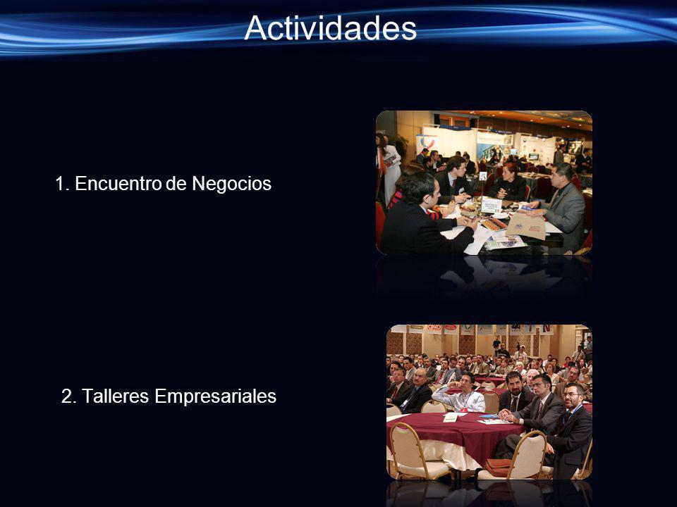 Actividades 1. Encuentro de Negocios 2. Talleres Empresariales