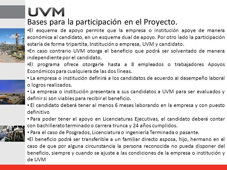 Bases para la participación en el Proyecto. El esquema de apoyo permite que la empresa o institución apoye de manera económica al candidato, en un esq