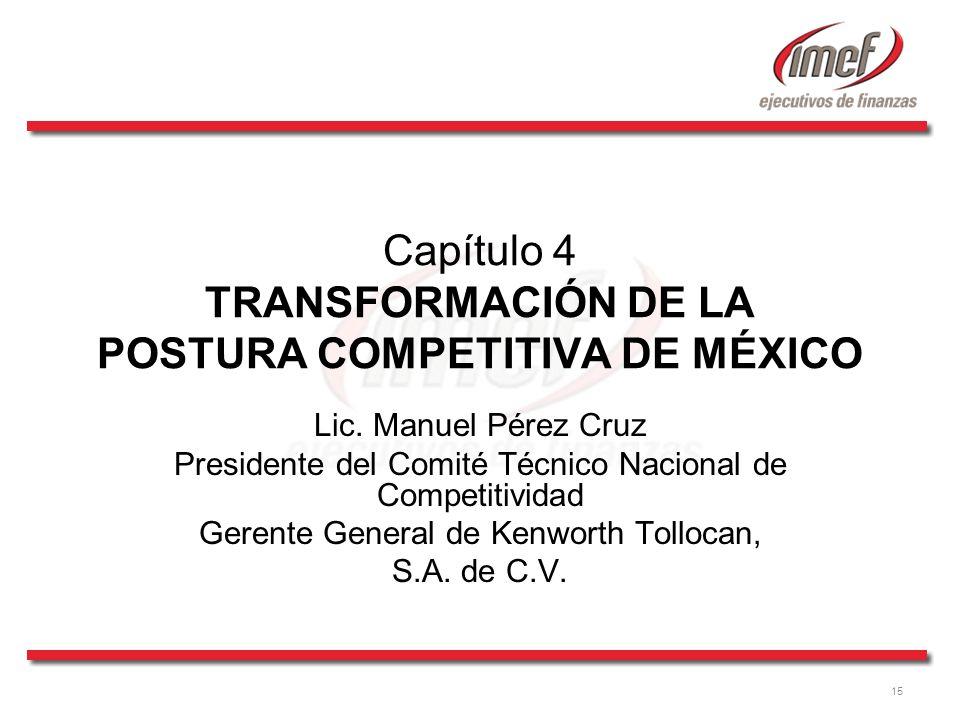 15 Capítulo 4 TRANSFORMACIÓN DE LA POSTURA COMPETITIVA DE MÉXICO Lic. Manuel Pérez Cruz Presidente del Comité Técnico Nacional de Competitividad Geren