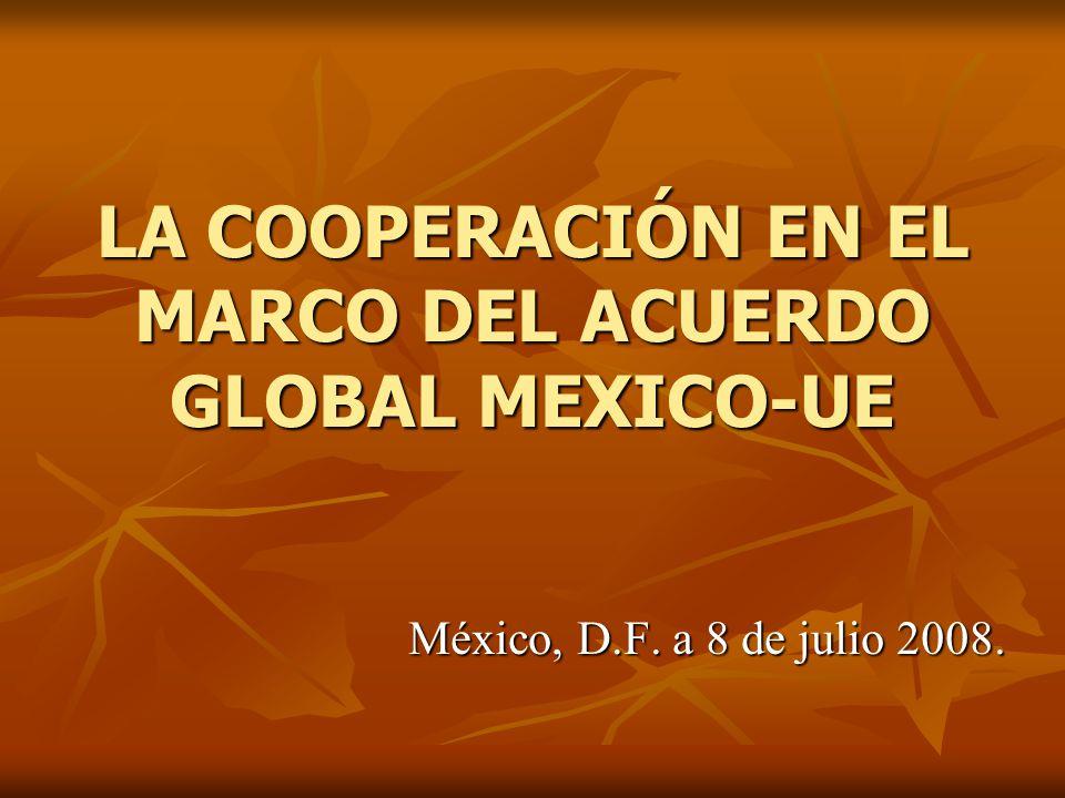 LA COOPERACIÓN EN EL MARCO DEL ACUERDO GLOBAL MEXICO-UE México, D.F. a 8 de julio 2008.