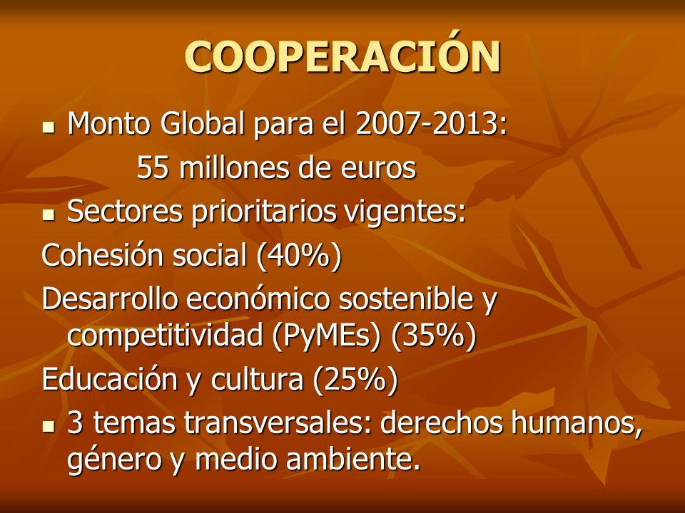 COOPERACIÓN Monto Global para el 2007-2013: Monto Global para el 2007-2013: 55 millones de euros 55 millones de euros Sectores prioritarios vigentes: Sectores prioritarios vigentes: Cohesión social (40%) Desarrollo económico sostenible y competitividad (PyMEs) (35%) Educación y cultura (25%) 3 temas transversales: derechos humanos, género y medio ambiente.