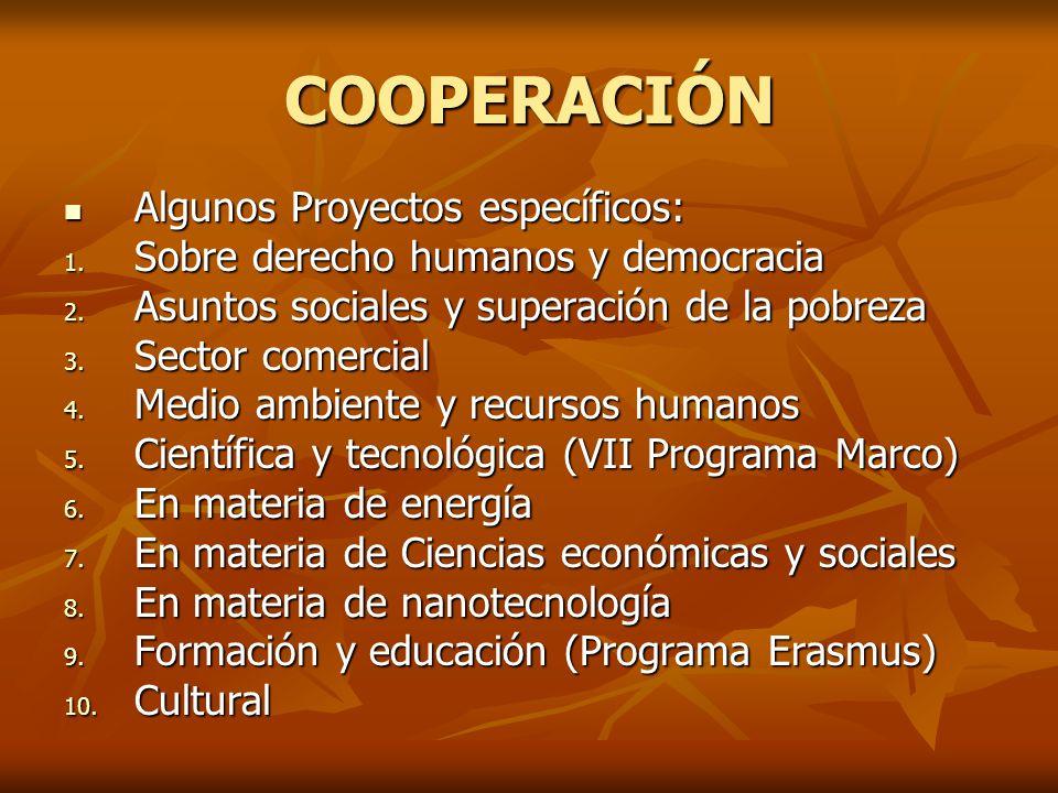 COOPERACIÓN Algunos Proyectos específicos: Algunos Proyectos específicos: 1.