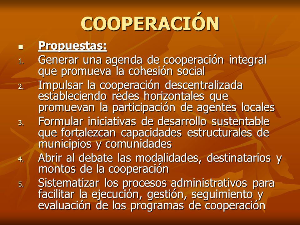 COOPERACIÓN Propuestas: Propuestas: 1.