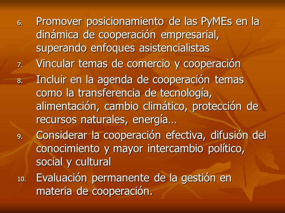 6. Promover posicionamiento de las PyMEs en la dinámica de cooperación empresarial, superando enfoques asistencialistas 7. Vincular temas de comercio