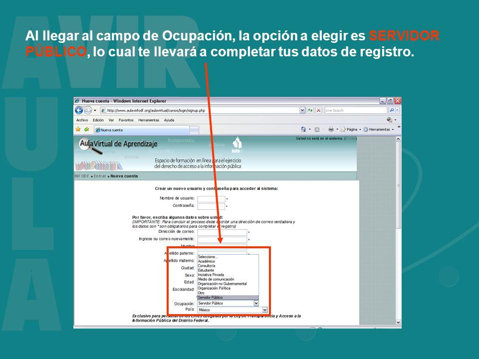 Al llegar al campo de Ocupación, la opción a elegir es SERVIDOR PÚBLICO, lo cual te llevará a completar tus datos de registro.