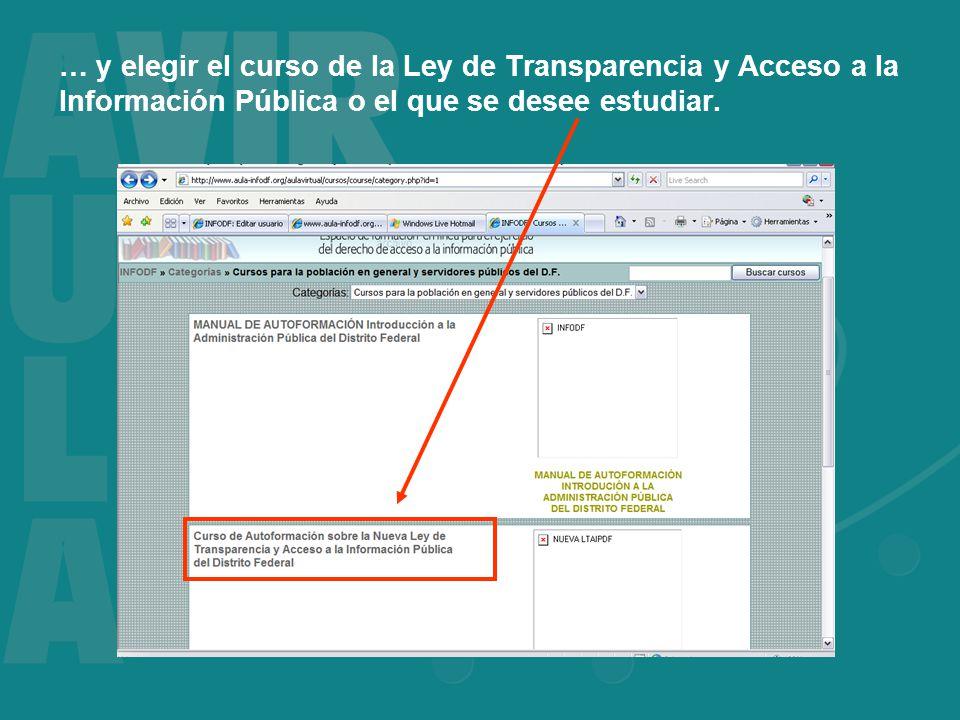 … y elegir el curso de la Ley de Transparencia y Acceso a la Información Pública o el que se desee estudiar.