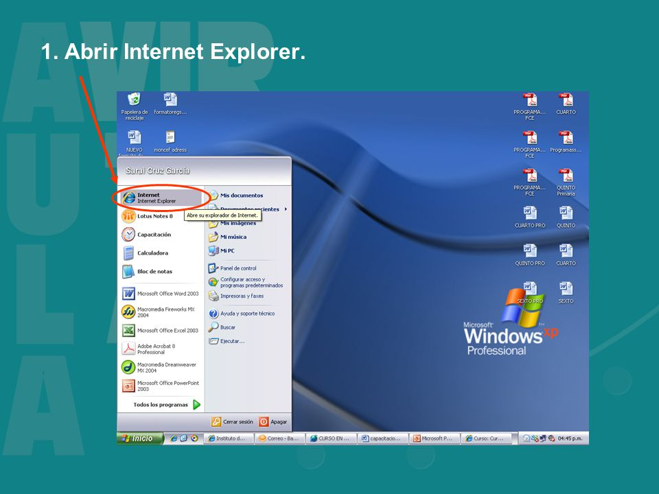 1. Abrir Internet Explorer.