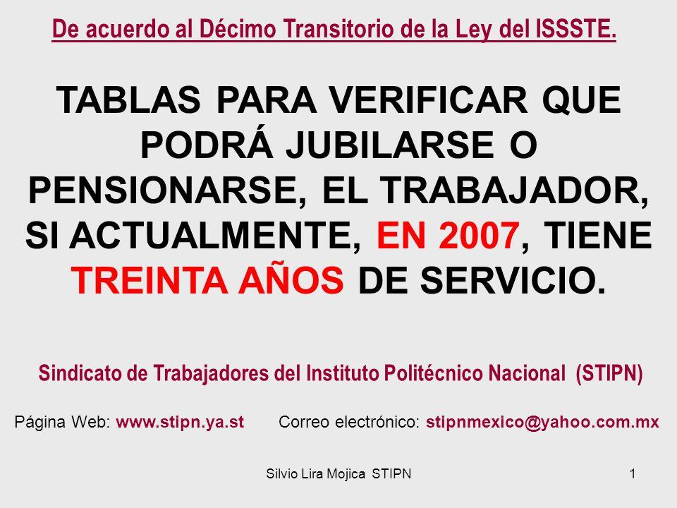Silvio Lira Mojica STIPN1 TABLAS PARA VERIFICAR QUE PODRÁ JUBILARSE O PENSIONARSE, EL TRABAJADOR, SI ACTUALMENTE, EN 2007, TIENE TREINTA AÑOS DE SERVI
