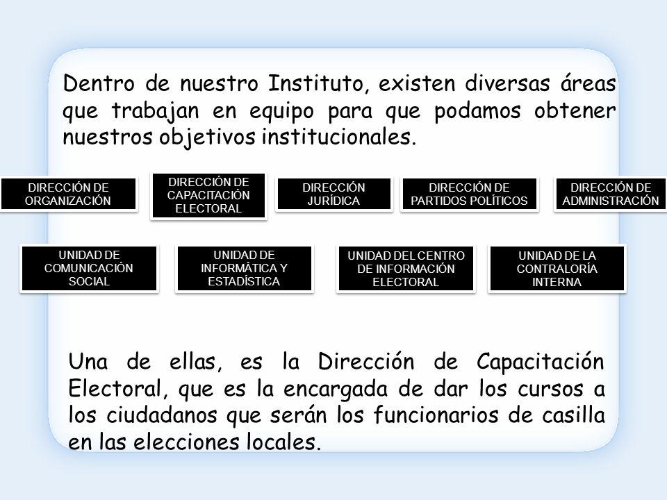 Otra de las actividades de esta Dirección es capacitar a los funcionarios de casilla en las elecciones de las alcaldías, delegaciones y subdelegaciones en los municipios del Estado cuando así se lo solicitan al Instituto.