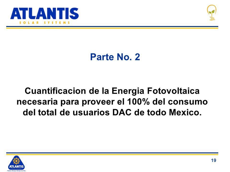 19 Parte No. 2 Cuantificacion de la Energia Fotovoltaica necesaria para proveer el 100% del consumo del total de usuarios DAC de todo Mexico.