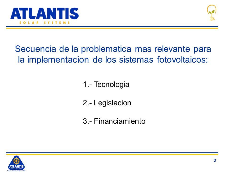 2 Secuencia de la problematica mas relevante para la implementacion de los sistemas fotovoltaicos: 1.- Tecnologia 2.- Legislacion 3.- Financiamiento