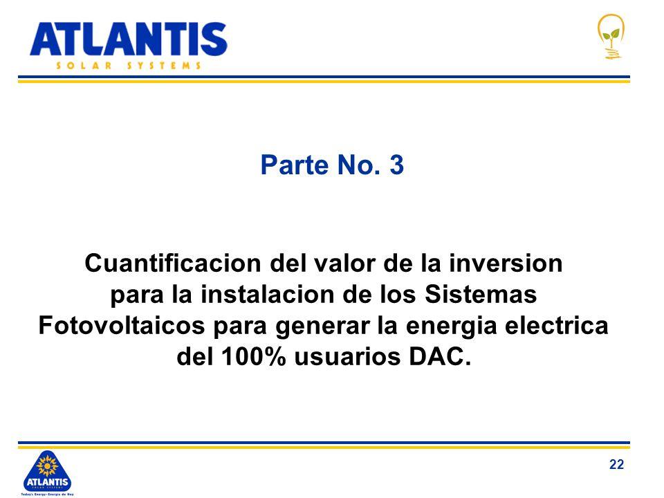 22 Parte No. 3 Cuantificacion del valor de la inversion para la instalacion de los Sistemas Fotovoltaicos para generar la energia electrica del 100% u