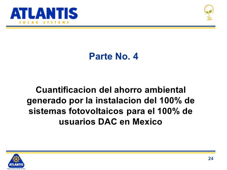 24 Parte No. 4 Cuantificacion del ahorro ambiental generado por la instalacion del 100% de sistemas fotovoltaicos para el 100% de usuarios DAC en Mexi